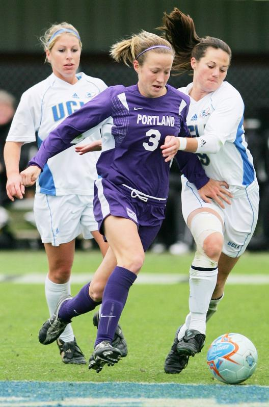 A young Megan Rapinoe playing for the University of Portland.