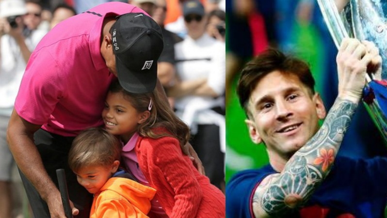 tiger woods u0026 39  kids say they want to be like messi