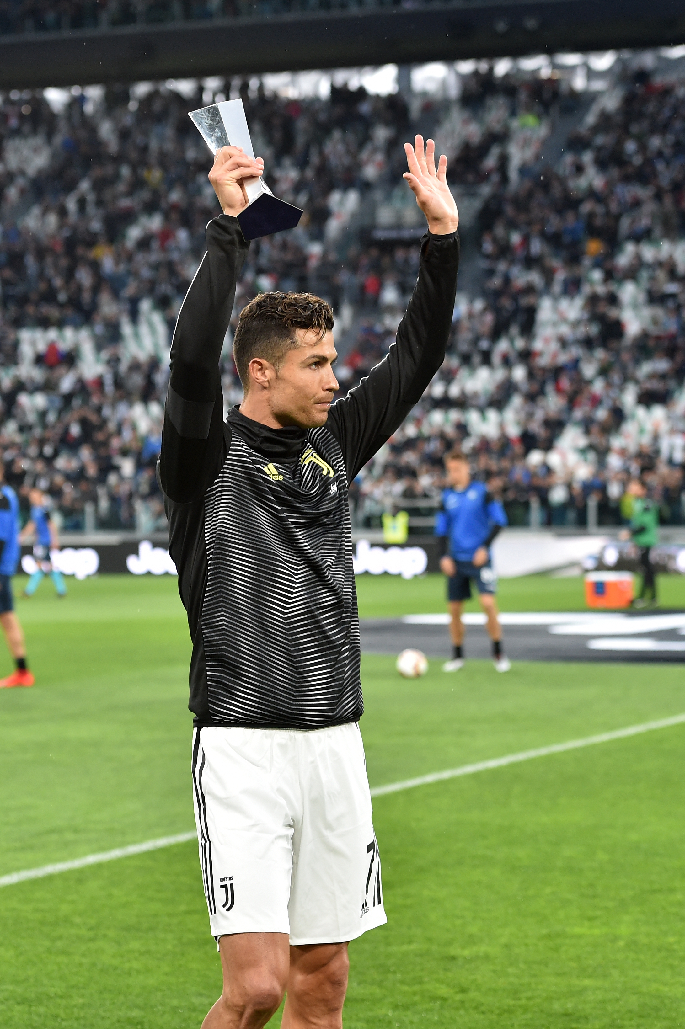 Cristiano Ronaldo Receives Serie A Player Of The Year Trophy