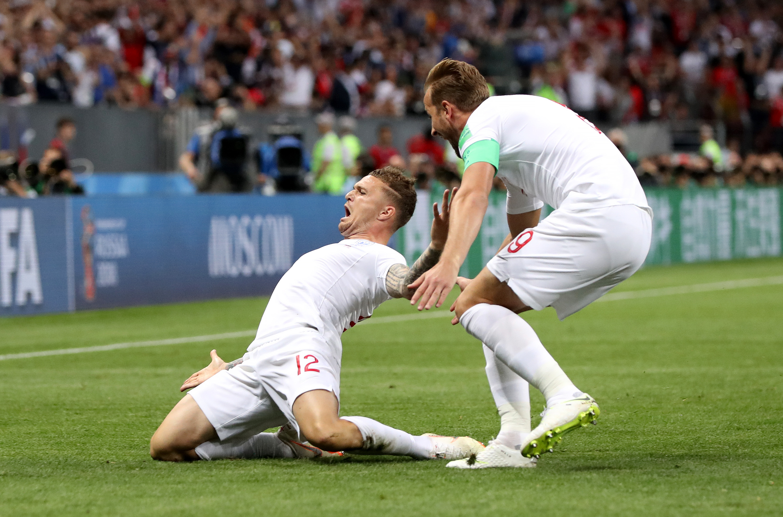 Kieran Trippier celebrates his goal in the semi-final