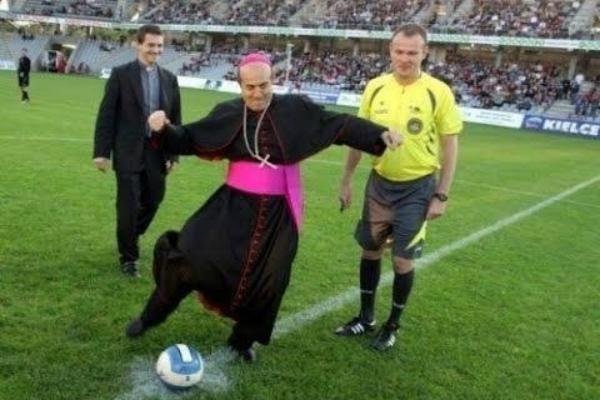 Pope takes penalty kick