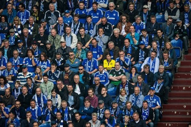Dortmund supporter with Schalke fans