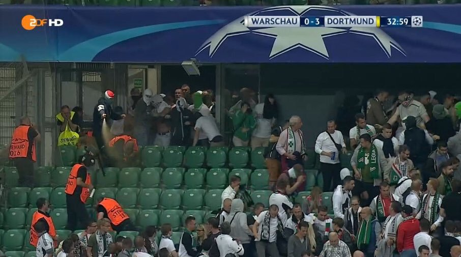 Legia Warsaw ultra with pepper spray