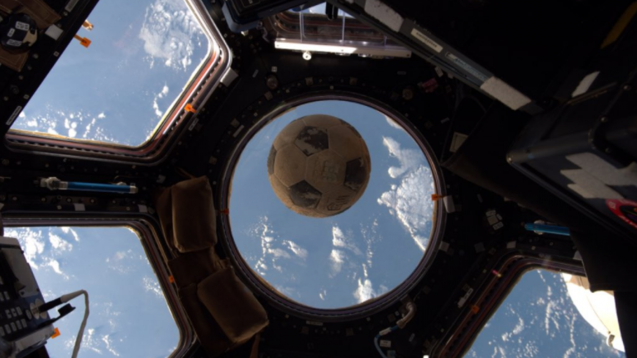 Soccer ball that was on Challenger, returns to space