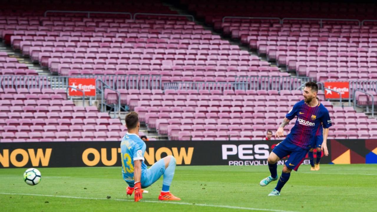 Lionel Messi Barcelona Goal Empty Stadium