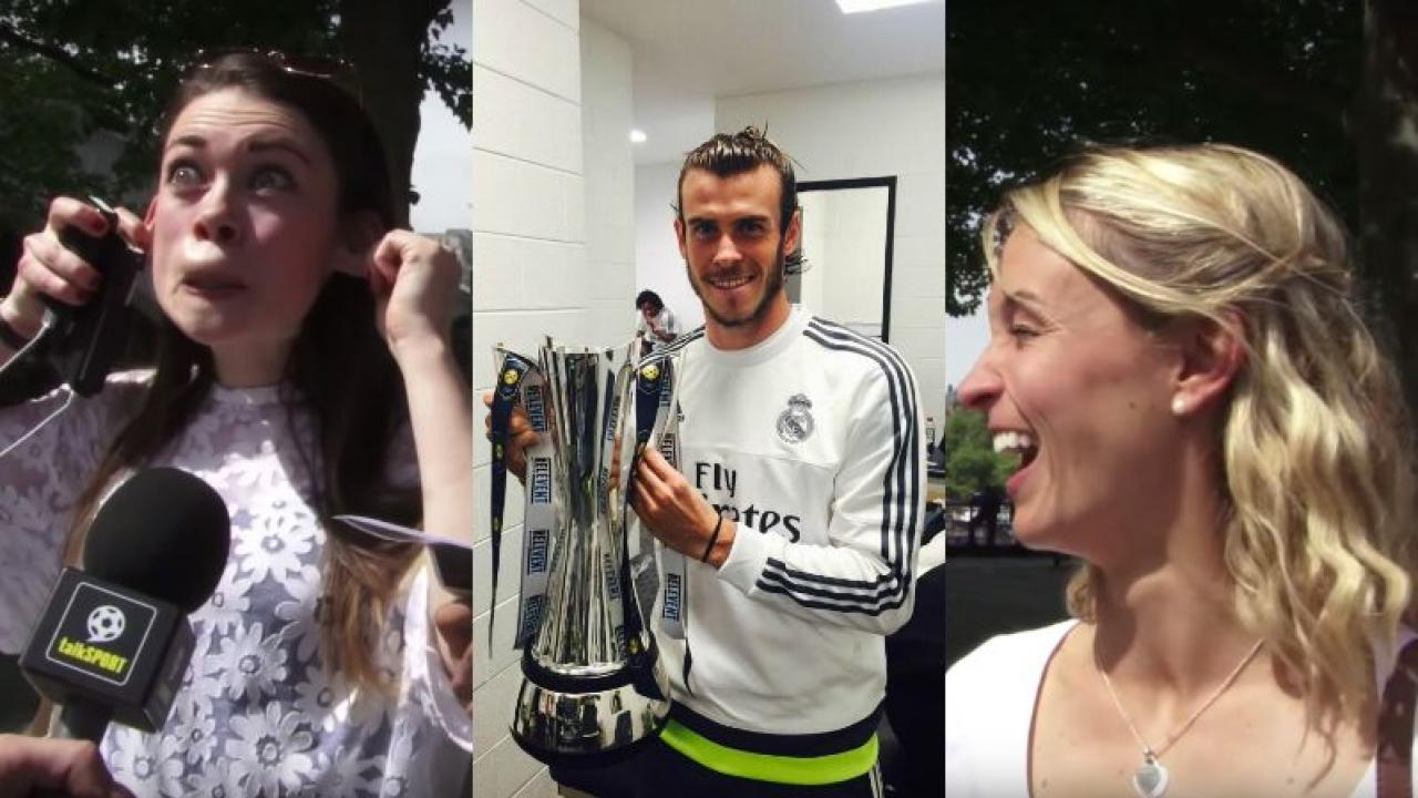 Young women poking fun at gareth bale, with a picture of bale in the middle.