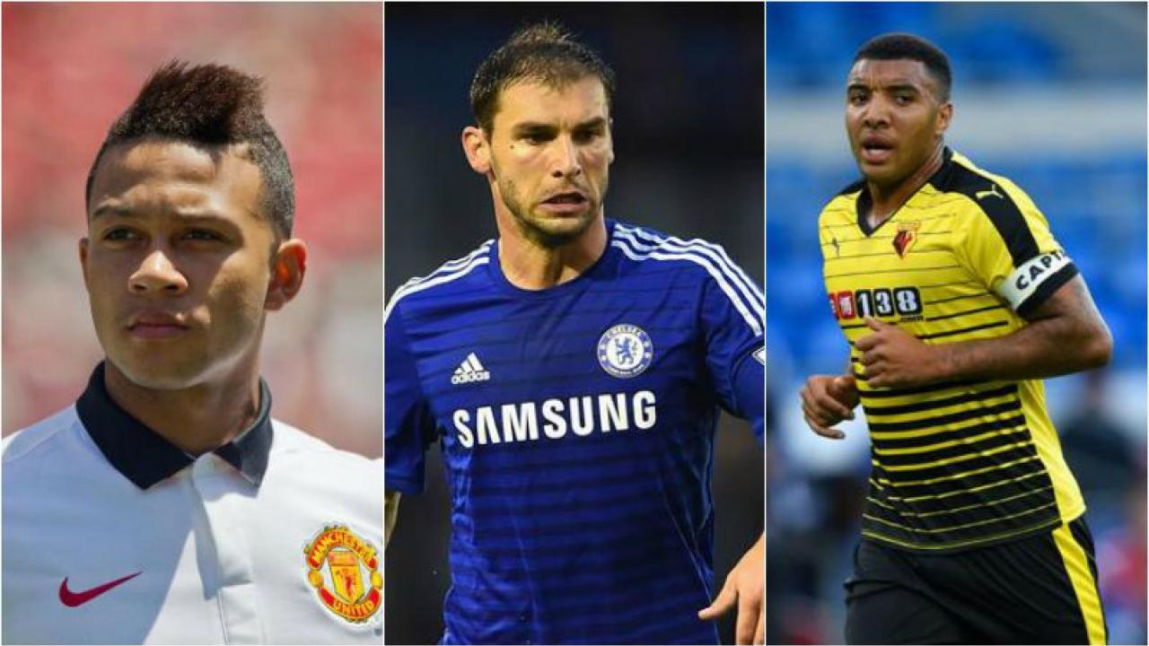 Depay, Ivanovic, and Watford's Deeney are all picture in their respective jerseys.