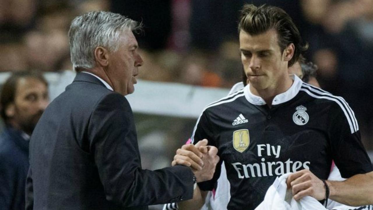 Real Madrid Gareth Bale and Carlo Ancelotti