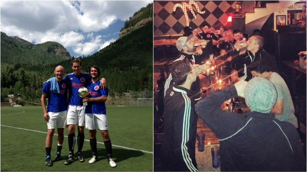 Three Harpo's FC players pictured against a mountain backdrop, next to a picture of the team chugging beer.