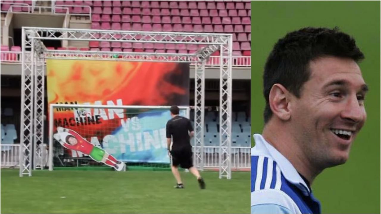 Messi is shown getting his shot saved by some contraption in one frame, and then smiling in disbelief in the next.