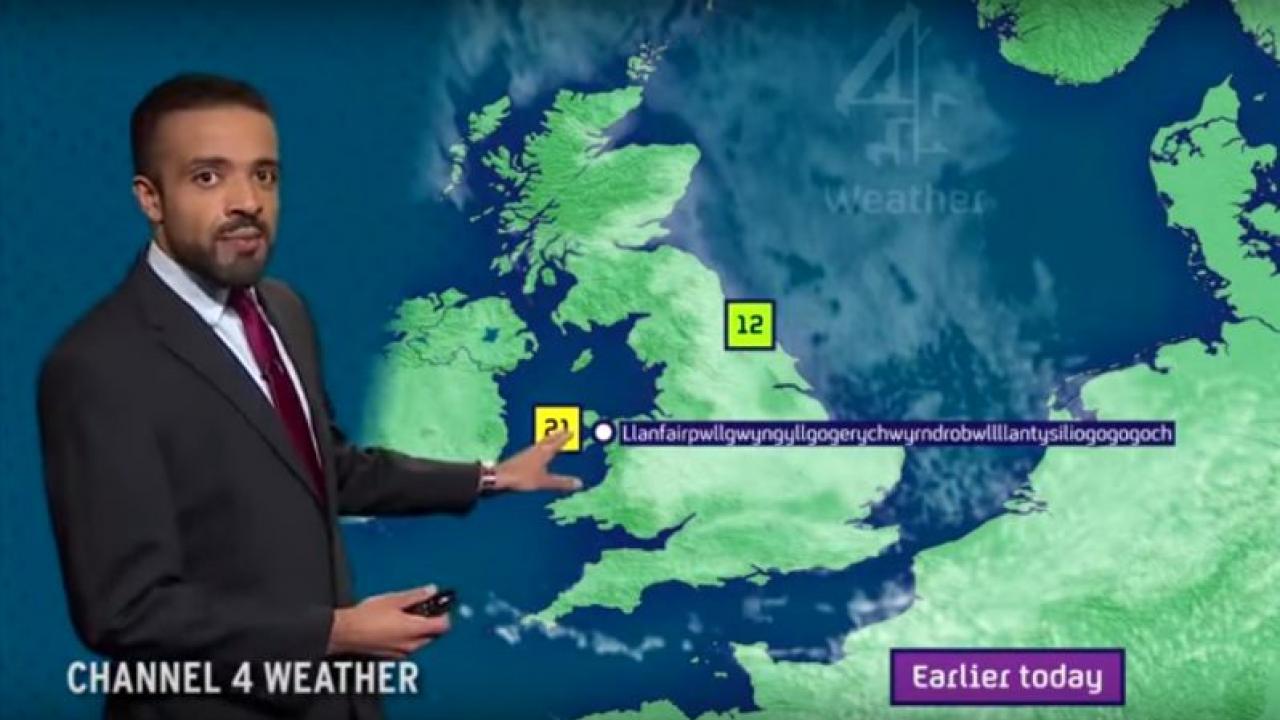 Weather man pronounces long name.