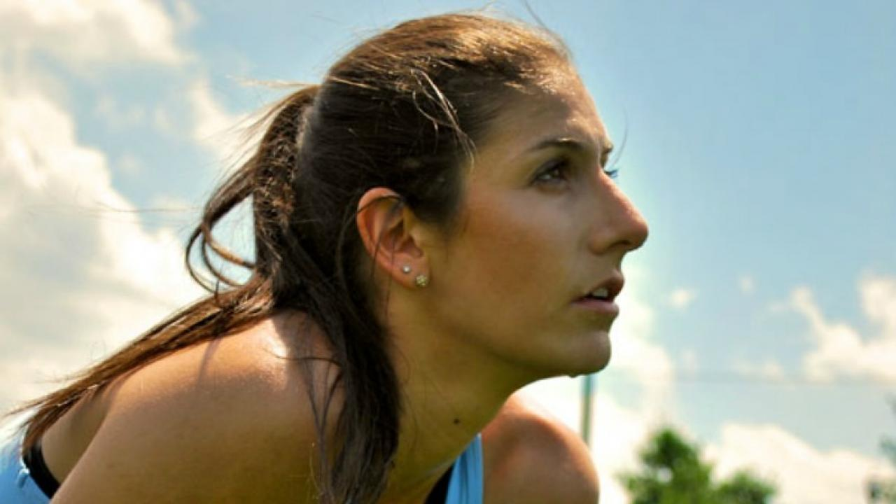 Yael Averbuch looking up. She's tired but inspired.