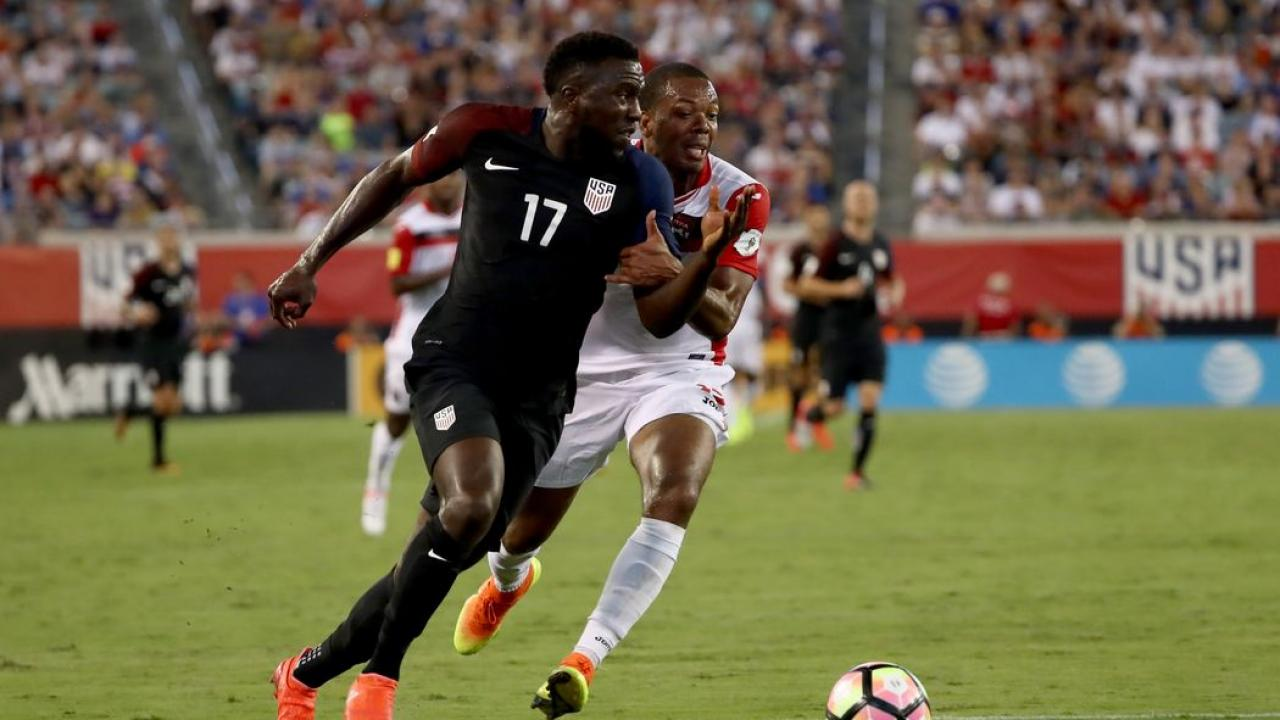 Jozy Altidore leads USA to a 4-0 victory over T&T.