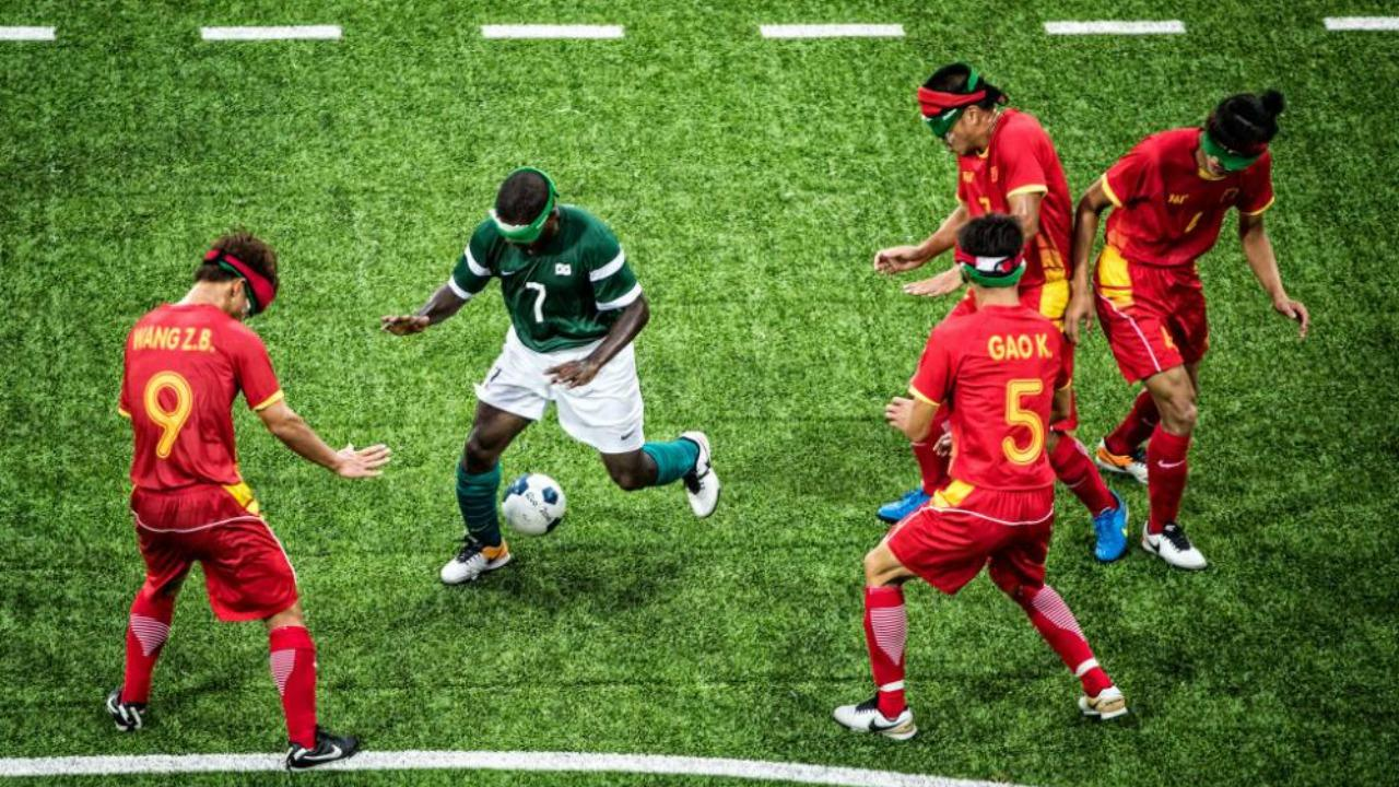 Jefinho, blind footballer, takes on China.