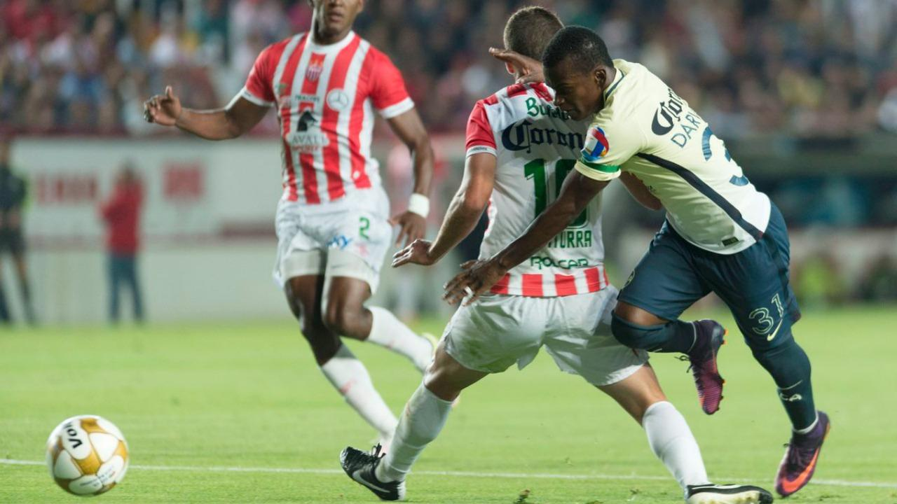 America and Necaxa draw 1-1 in the first leg.