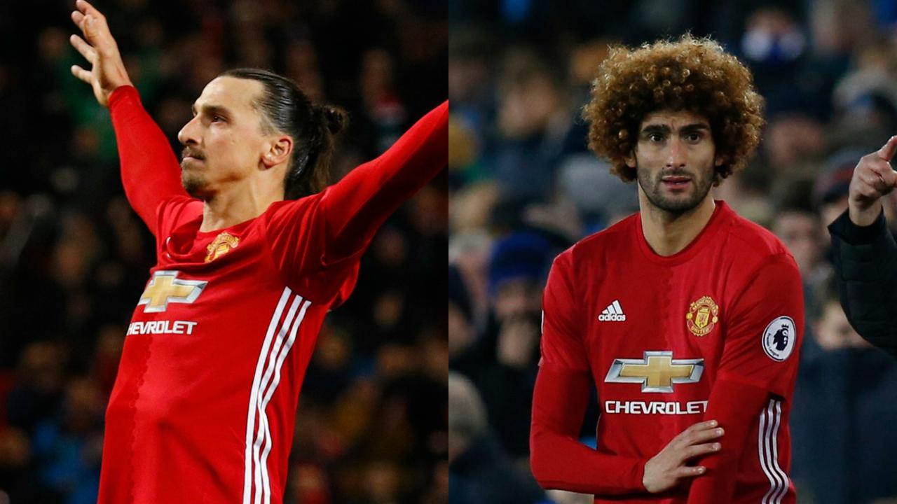 Zlatan celebrates an amazing chip-in versus Everton, Fellaini looks nervous before Mourinho puts him in