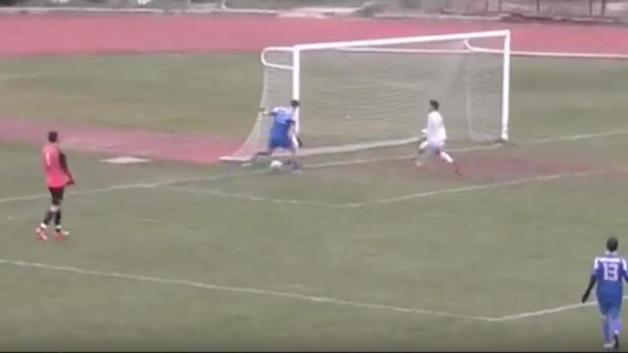 Goal-line struggle in Greece.