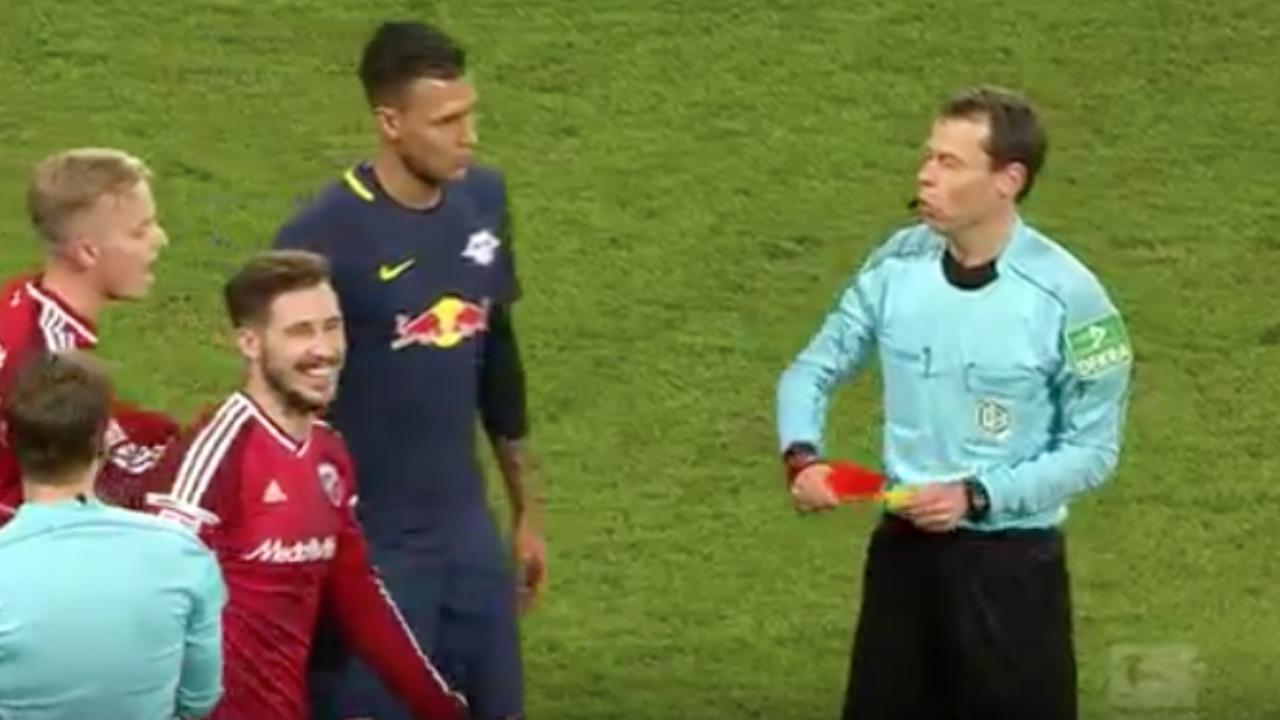 Referee hands out 5 cards in 12 seconds.