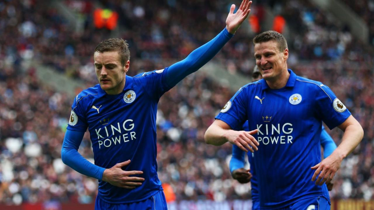 Jamie Vardy and Robert Huth