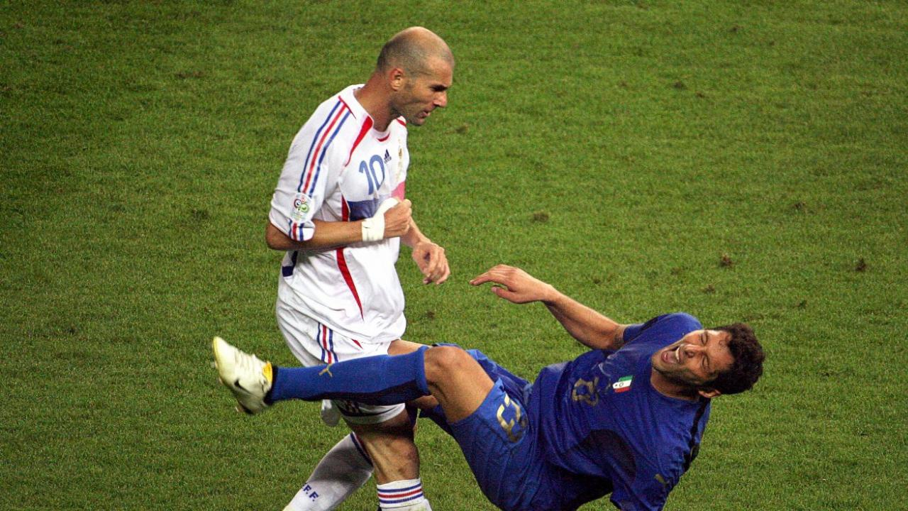 Zinedine Zidane headbutt reaction, shown here the moment after the headbutt occurred