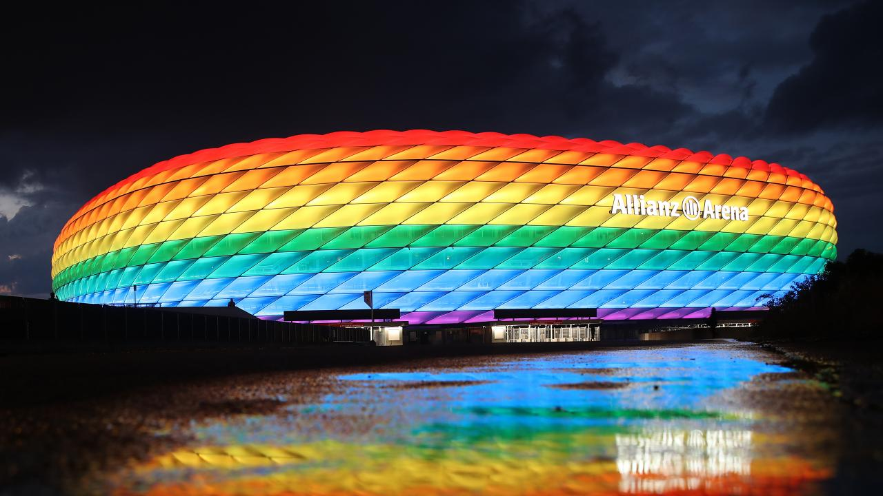Allianz Arena Lights In Rainbow Colors