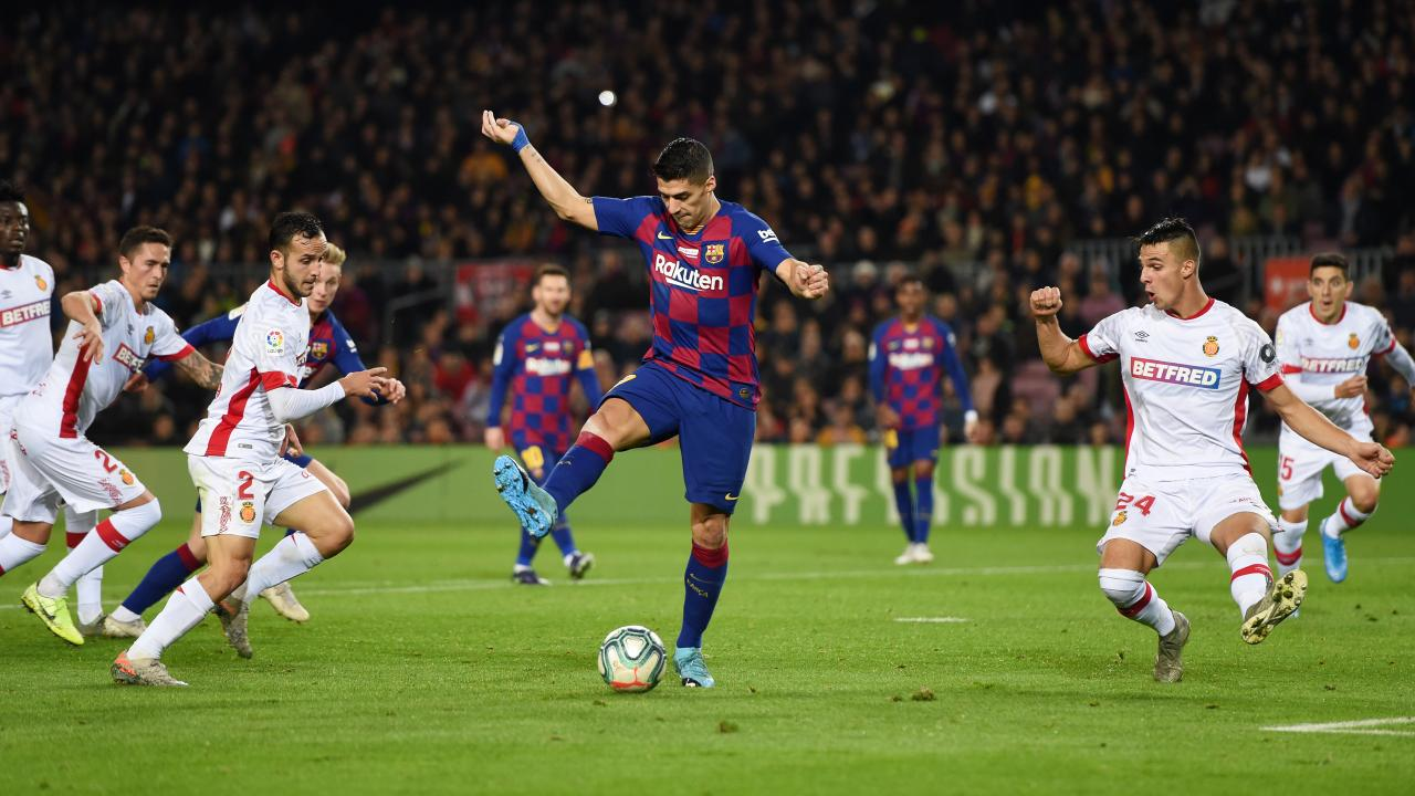 Luis Suarez backheel goal vs Mallorca