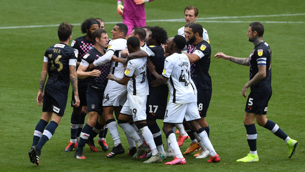 Luton Town vs Swansea City fight