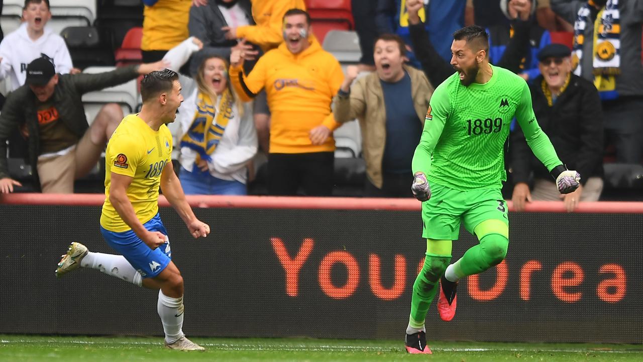 Torquay United goalkeeper Lucas Covolan