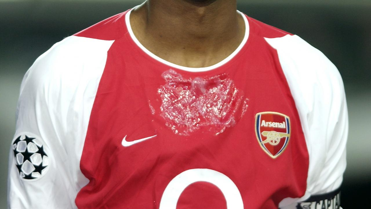Wet spot on chest of soccer players, explained