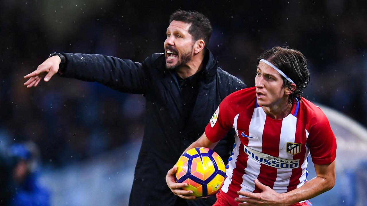 Filipe Luís and Diego Simeone