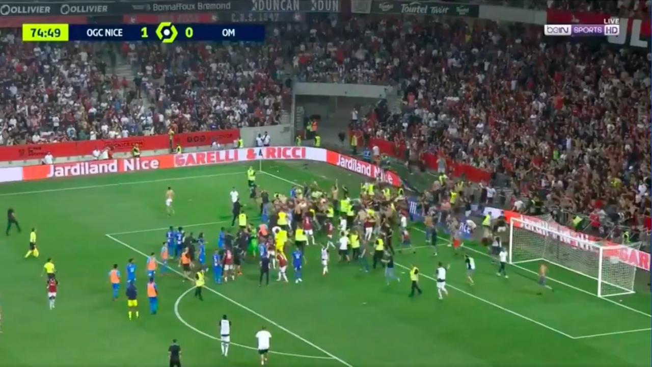 Nice ultras storm pitch vs Marseille