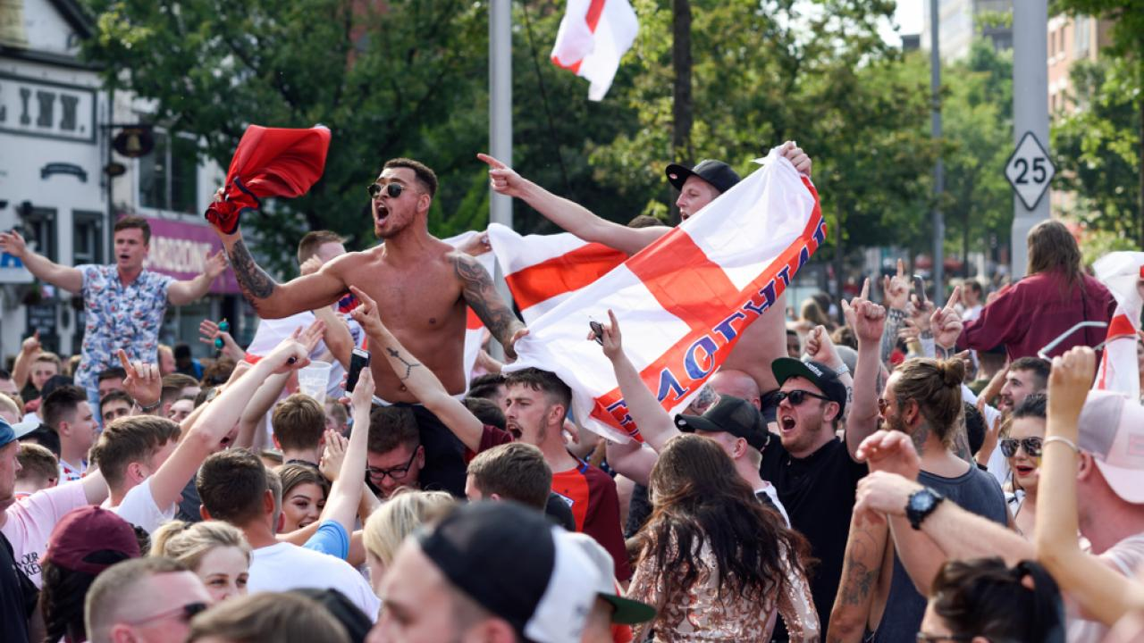 England fans celebrate at Ikea
