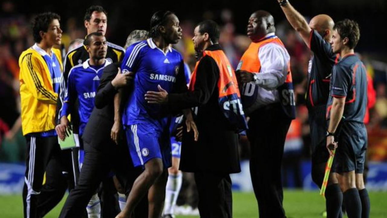 Didier Drogba yells out at referee after bad call