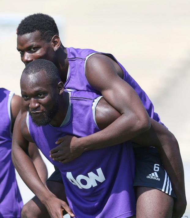 Paul Pogba And Romelu Lukaku In Training Manchester United