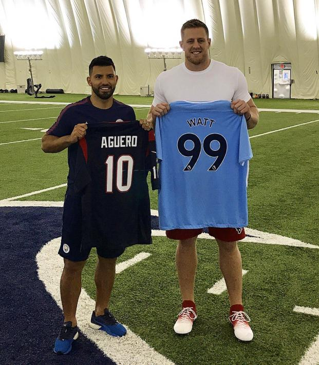 J.J. Watt meets Manchester City Striker Sergio Aguero