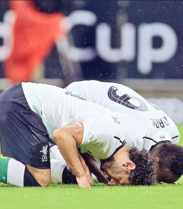 Mane and Salah Celebrate Goal vs. Bayern