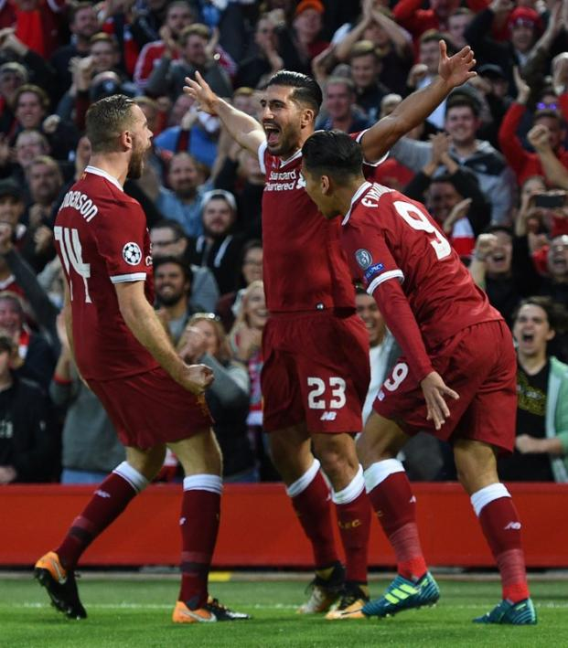Liverpool Celebrate Emre Can Champions League Goal