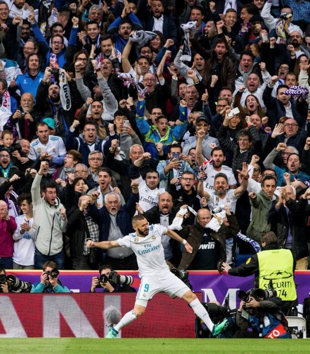 Karim Benezema Celebrates Goal vs Bayern Munich