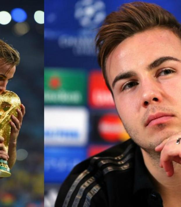Mario Gotze is shown kissing the World Cup trophy in the left frame, and in the right he is shown looking pensive at a press conference.