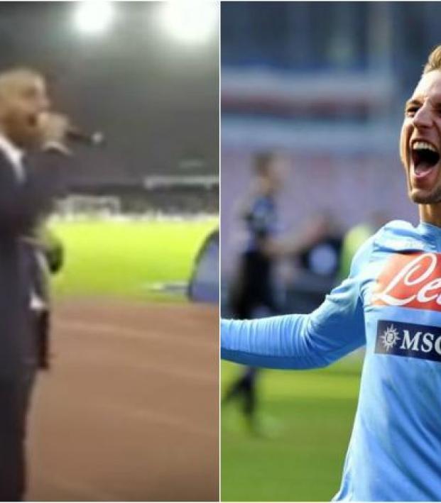 Napoli's hype man and a napoli player celebrating.