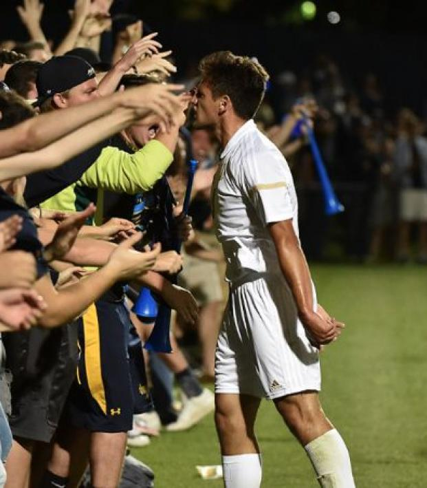 Akron player hypes up the crowd.