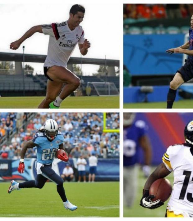 Soccer stars Cristiano Ronaldo, Arjen Robben, Gareth Bale, and NFL stars Chris Johnson, Dri Archer and Marquise Goodwin
