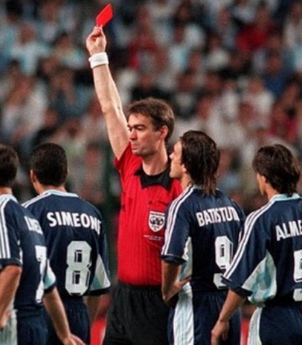 David Beckham receives a red card against Agrentina in 1998