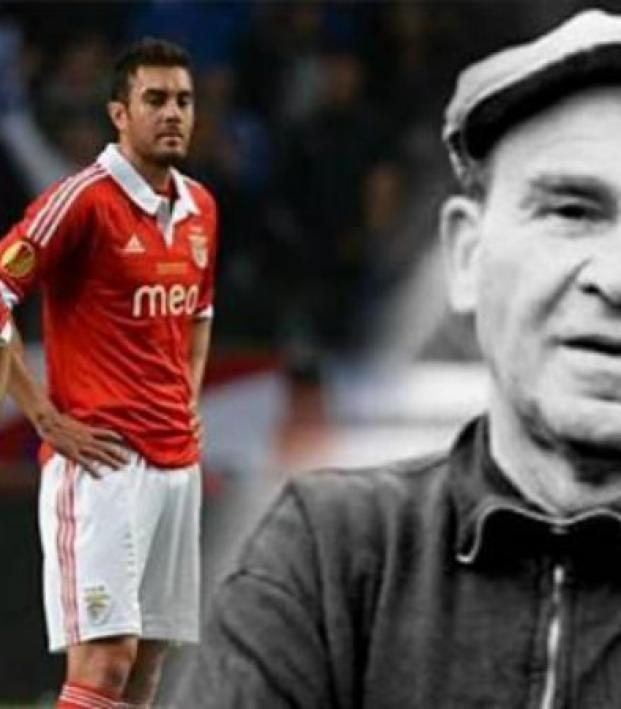 Benfica players imposed next to a black and white photo of Bela Guttmann