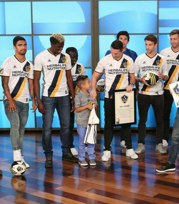 Ellen Degeneres surprises eight-year-old soccer fan.