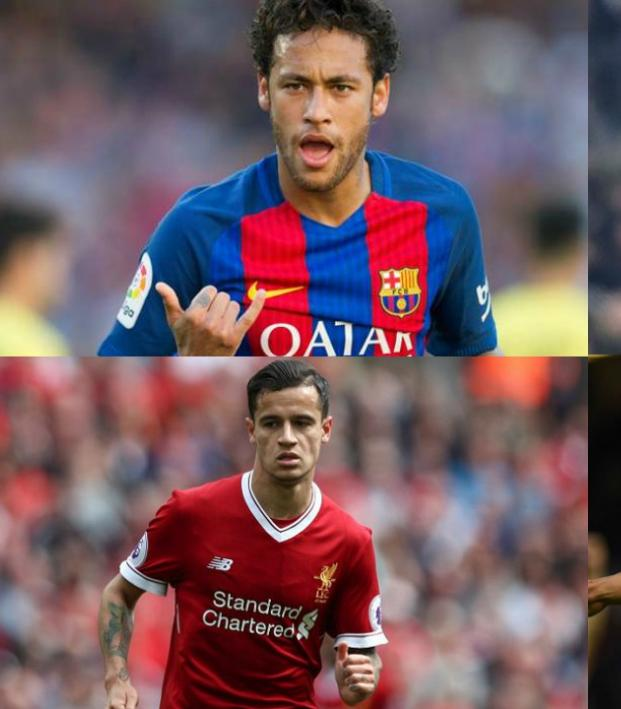Neymar, Alex Sandro, Philippe Coutinho and Casemiro
