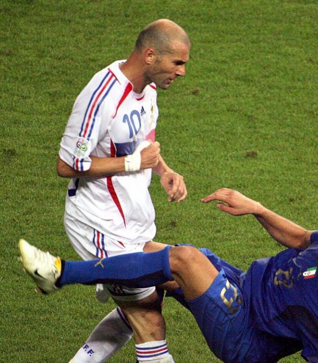 Zinedine Zidane headbutt reaction, shown here the moment after the headbutt occurred