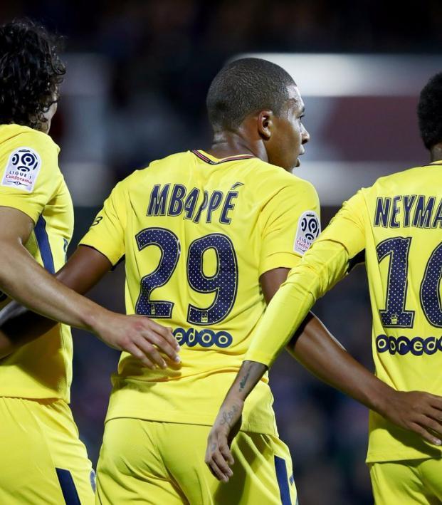 Edinson Cavani, Kylian Mbappe and Neymar
