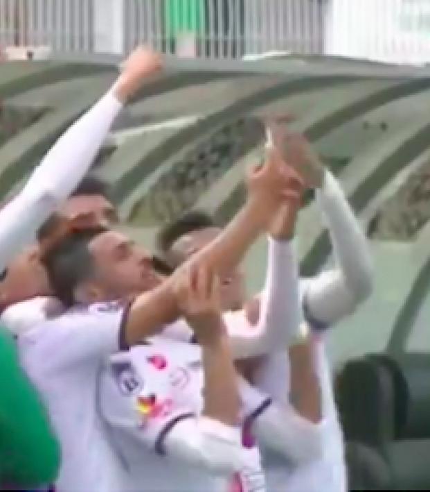 Soccer selfie celebration