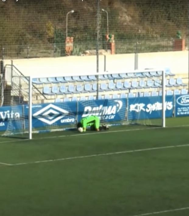 Keeper scores equalizer but then gets lobbed.